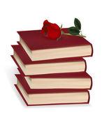 Livres et une rose rouge sur fond blanc. illustration vectorielle photo-réalistes. — Vecteur