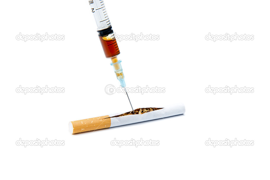 Adding additives to make smokers more addicted. Over white background — Stock Photo #7882402