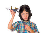 Boy play with jet airplane model — Stock Photo