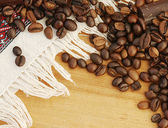 Background with coffee beans — Stock fotografie