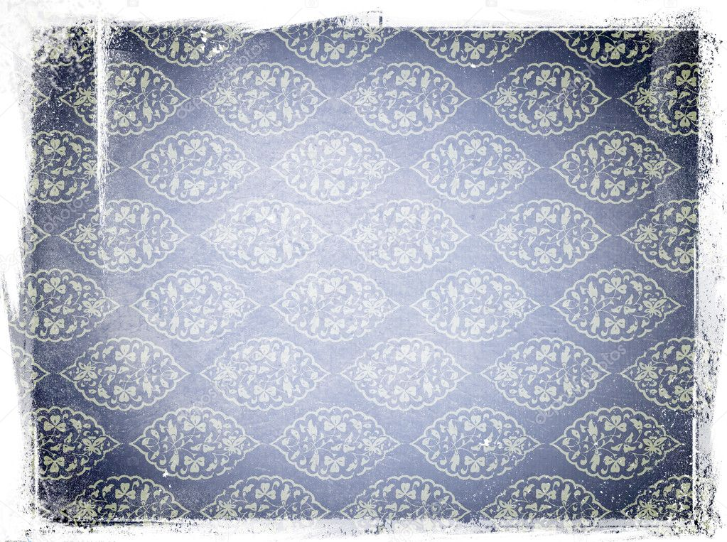 Blue old paper texture with floral ornaments pattern — Stock Photo #6893423