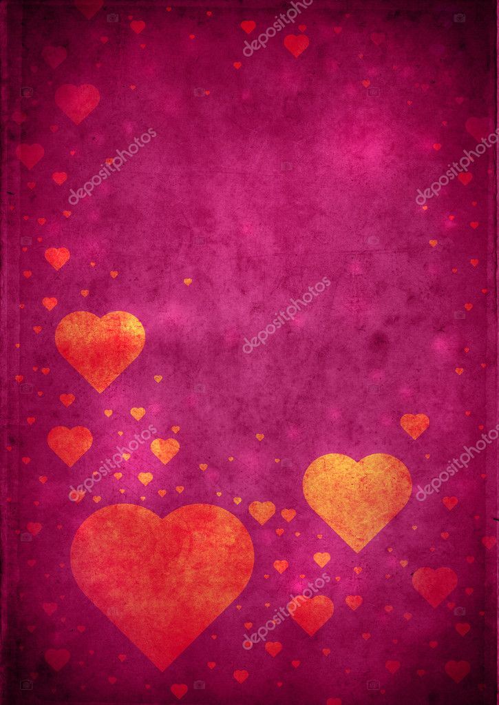 Love themed magenta vintage paper background with hearts and copy space — Stock Photo #6952585