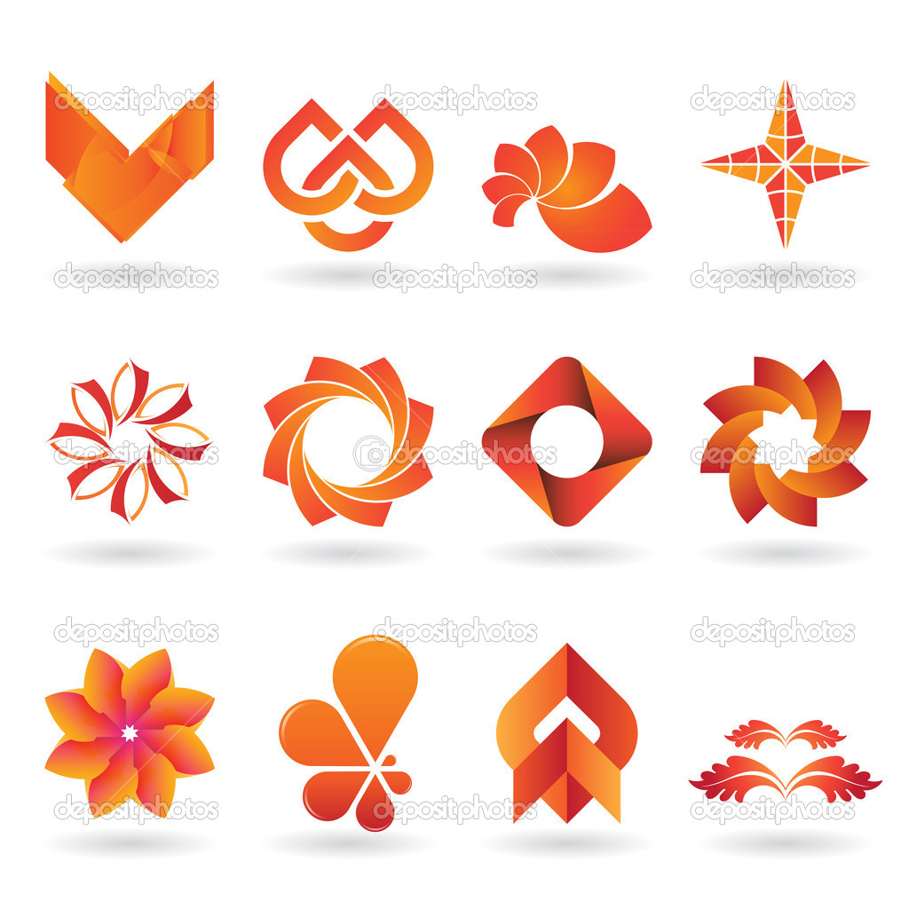 A collection of modern and and fresh logos or icons in orange tones, 12 original pieces — Stock Vector #7665563