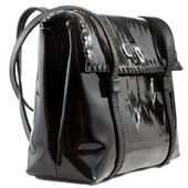 Black patent leather lady's bag — Stock Photo