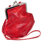 Small old-fashioned red leather lady's bag — Stock Photo