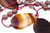 Fragment von Achat Damen Perlen closeup — Stockfoto
