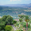 View on old italian yard and mountain valley — Stockfoto