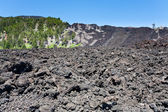 Hardened lava flow on volcano slope of Etna, Sicily — Stock Photo