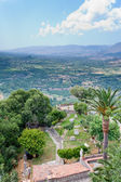 View on old italian yard and mountain valley — Stock Photo