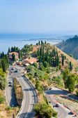 Ver os na cidade de taormina e resort giardini naxos, sicília — Foto Stock