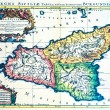 Medieval map of Sicily - Stock Photo