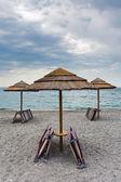Empty Ionian sea beach in overcast day, Sicily — Stock Photo