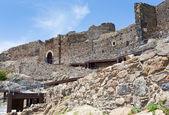 在 calatabiano,西西里古代诺曼城堡的墙上 — 图库照片