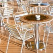 Stock Photo: Tables with ashtrays in outdoor bar