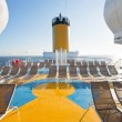 Relaxation area on upper deck of liner — Stock Photo