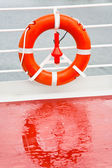 Life buoy on sea cruise liner — Stock Photo