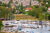 Small swedish town in Stockholm suburb in overcast day — Stock Photo