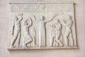 Targa commemorativa di nobel sul muro nel municipio di stoccolma — Foto Stock