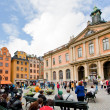 Foto de Stock  : Swedish Academy and Nobel Museum on Stortorget square in Stockholm