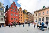 Medieval Stortorget square in Stockholm — Stock Photo