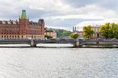 Canal and bridge in Stockholm — Zdjęcie stockowe