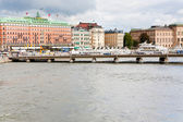 View on waterfront and Grand Hotel in Stockholm — Stock Photo
