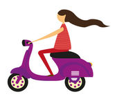 Girl over motorbike — Stock Vector