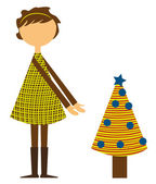Girl with christmas tree — Stock Vector