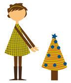 Meisje met kerstboom — Stockvector