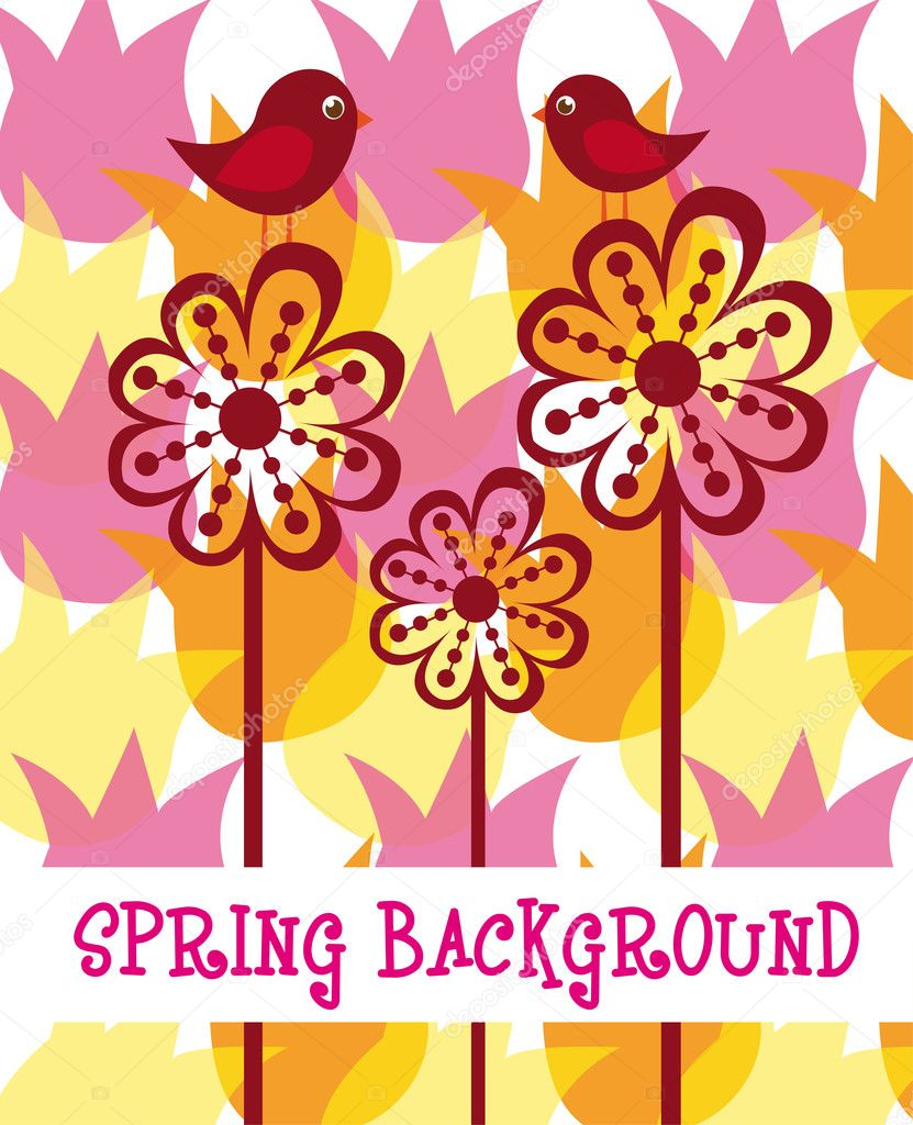 Spring with birds and abstract flowers background. vector — Stock Vector #7051304