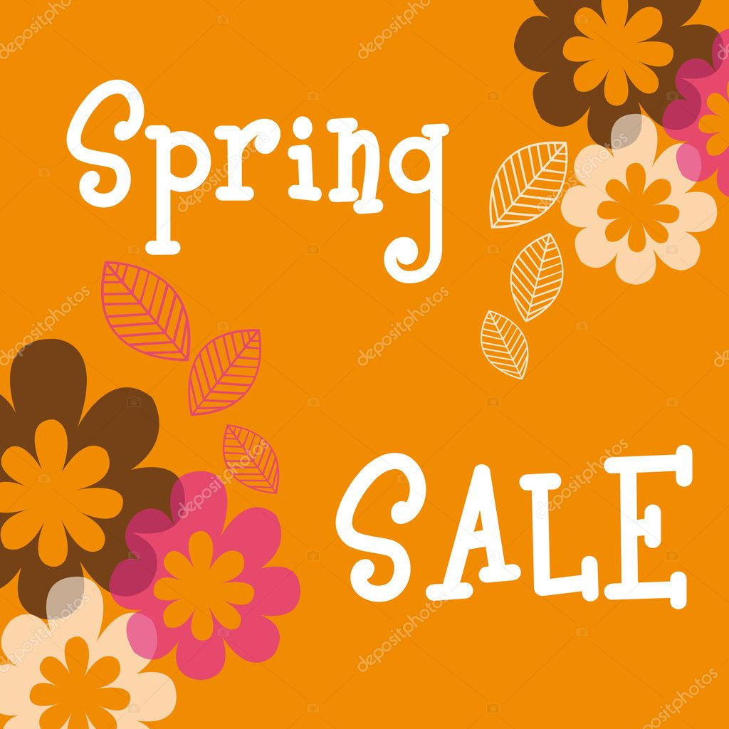 Spring sale with flowers and leaves over orange background. vector — Stock Vector #7051307