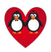 Penguin love — Stock Vector