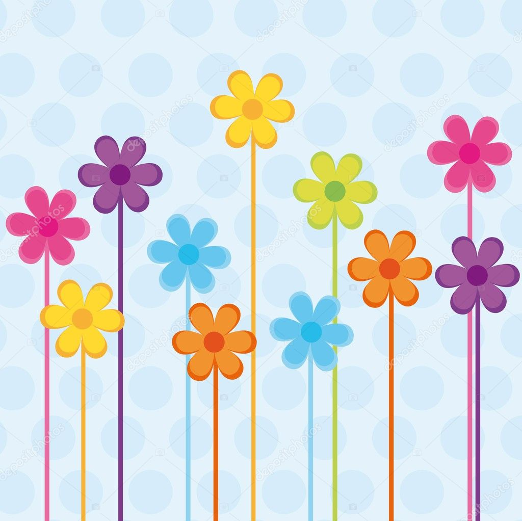 Colorful cute flowers over blue background . vector — Stock Vector #7078632