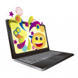 Royalty-Free Stock Vector Image: Laptop with surprise wallpaper