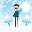 Stock Vector: Child boy in snow