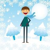 Child boy in the snow — Stock Vector
