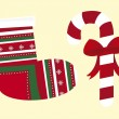 Christmas stockings and candy — Stok Vektör
