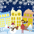Girl and snowman in the city — Stock Vector