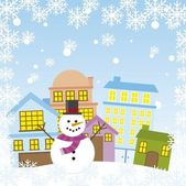 Snowman in the city — Stock Vector