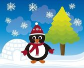 Penguin christmas vector — Stock Vector