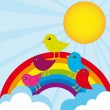 Rainbow and birds — Imagen vectorial