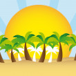 Palm tree y sol el vector — Vector de stock