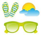 Sunglasses, flip flops, vector — Stock Vector
