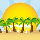 Palm tree and sun vector — Stock Vector