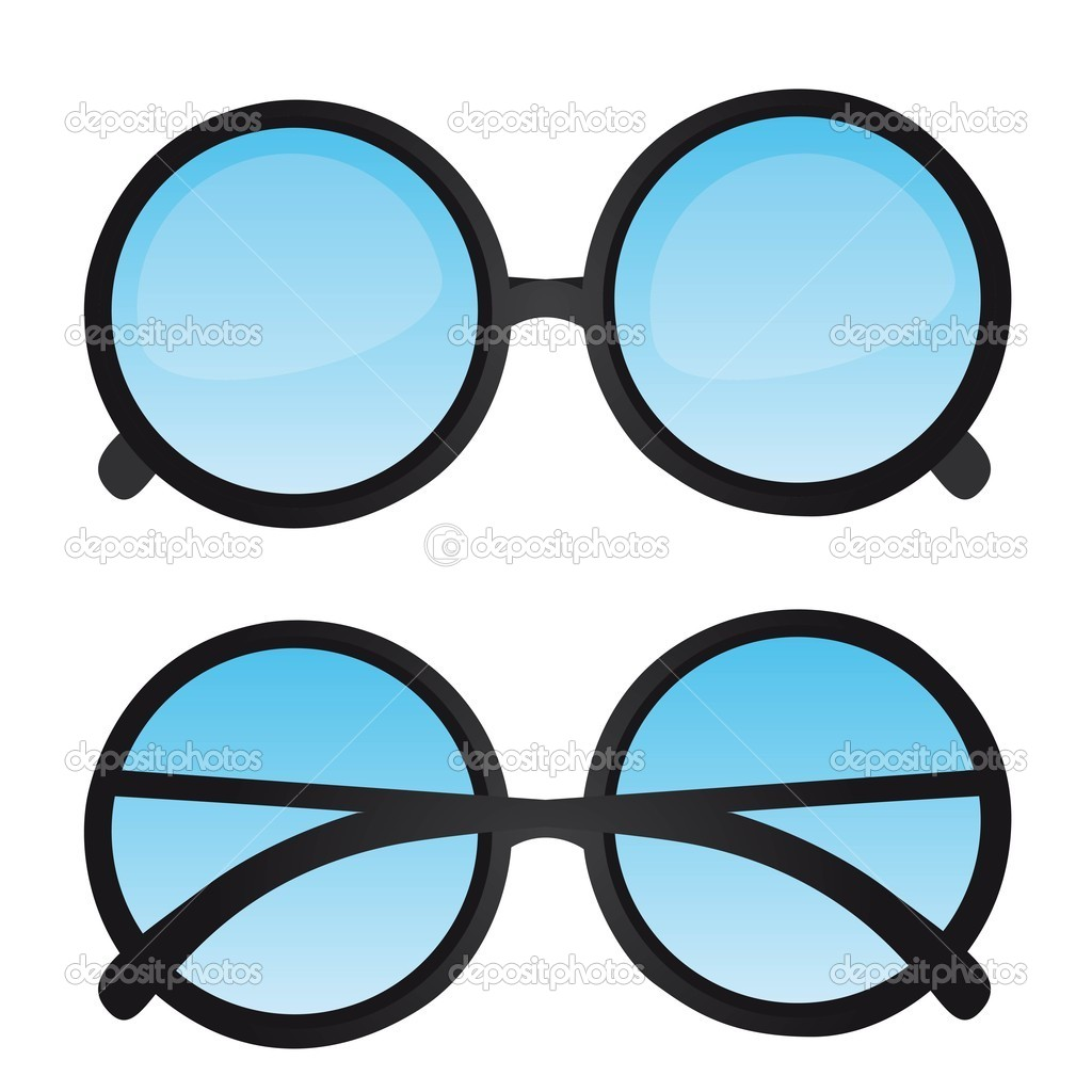 Nerd glasses with blue lens isolated. vector illustration — Stock Vector #7621602
