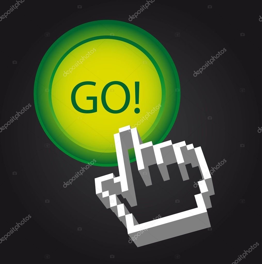 Go button with cursor hand press over black background. vector — Stock Vector #7621734