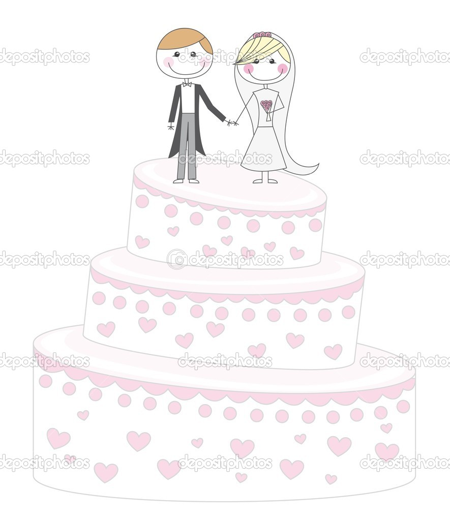 Cute cake just married cartoon over white background. vector — Stock Vector #7909133