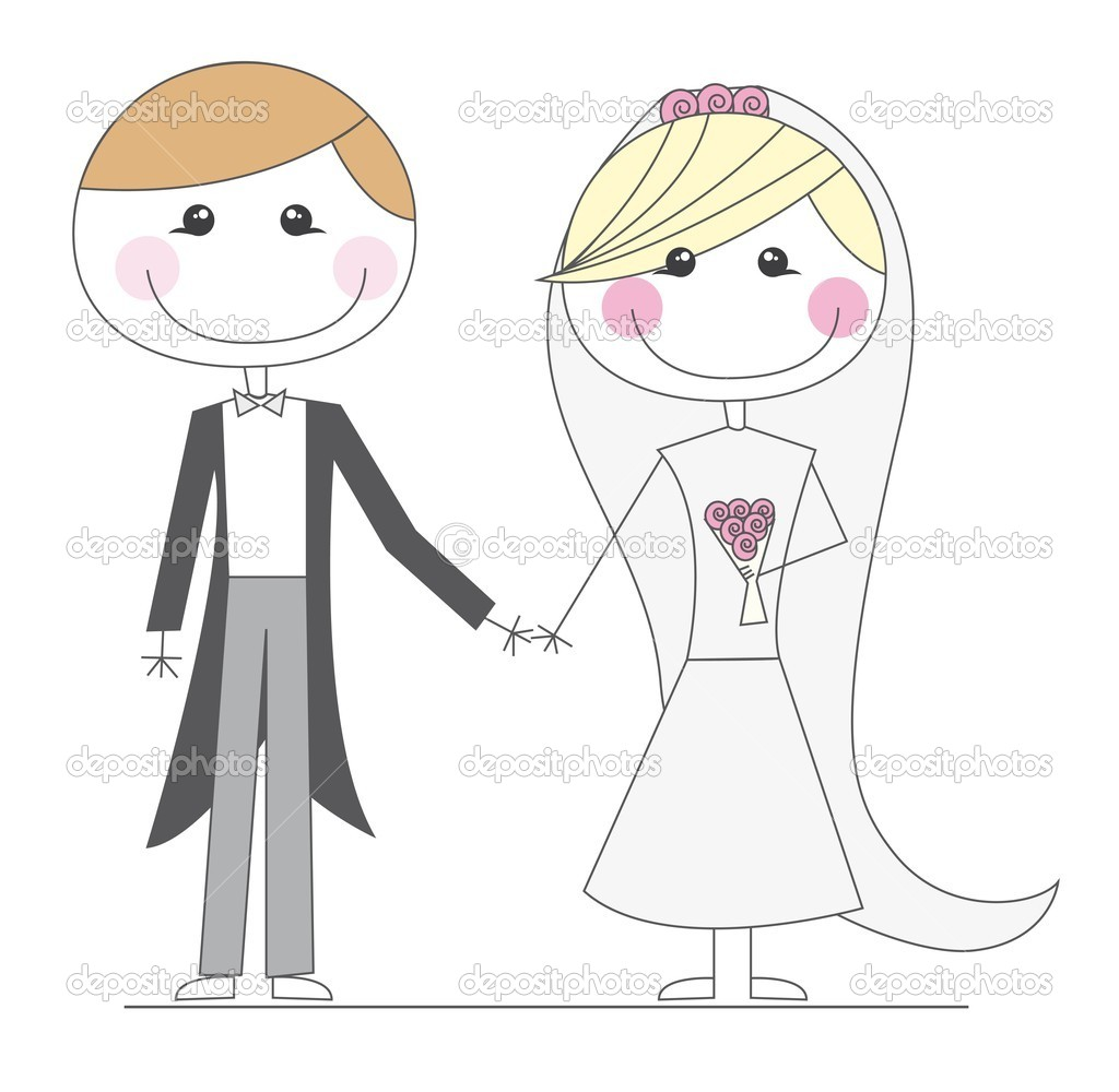 Just married cartoons over white background. vector — Stock Vector #7909167