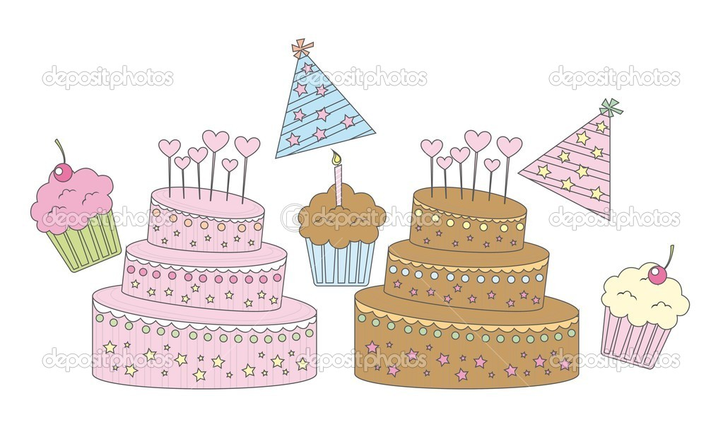 Vanilla,strawberry and chocolate cupcakes vector illustration  Stock Vector #7909182