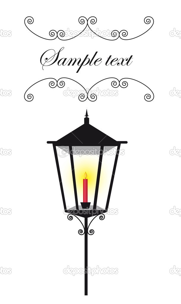 Black lamp street with red candle and copy space. vector  Stock Vector #7960618